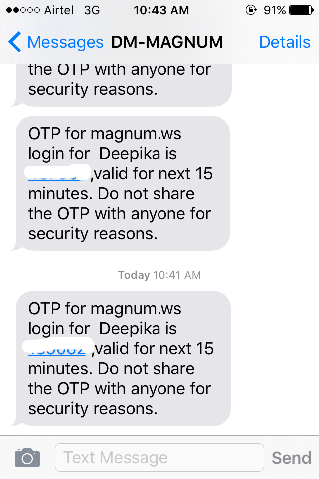 OTP received on mobile for login